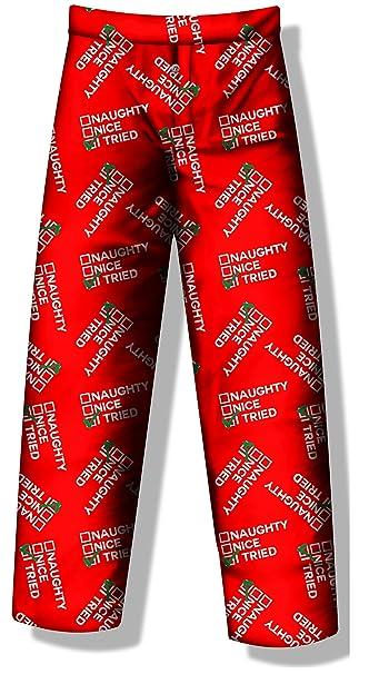 Christmas Pajama Pants.Fun Boxers Christmas Pajama Pants Funny Xmas Sleepwear Naughty Nice I Tried