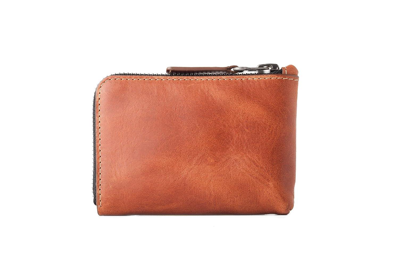 CAFÉ Leather - Osaka - Monedero de Piel [Curtición Vegetal Premium - Hecho a Mano en España] Tarjetero Interior 10+ Tarjetas/Cremallera Pulida Excella ...