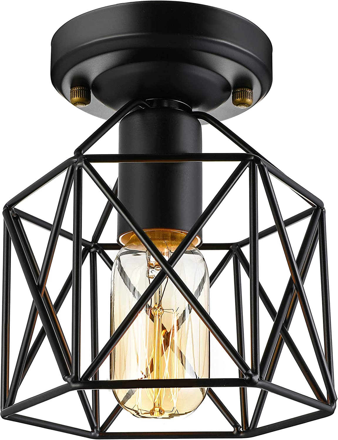 KWOKING Lighting Vintage semi Flush Mount Ceiling Light Industrial Lighting with Square cage Shade 1 Light Edison Bulb Indoor Hanging Lights for Entry Farmhouse Hallway Black Finish