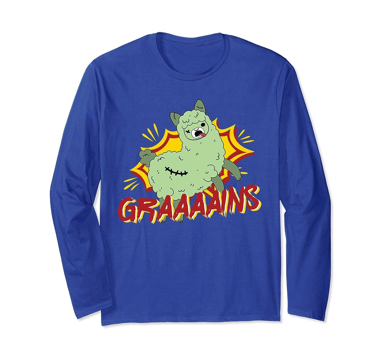 Zombie Alpaca Grain Eating Funny Long Sleeve T-Shirt-mt