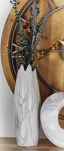 Deco 79 59765 Superb Ceramic Marble Vase, 7 W x 21 H, White