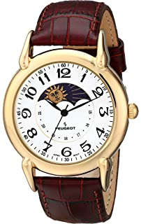 f2afd69bf3f Amazon.com  Peugeot Men s 14K Gold Plated Decorative Sun Moon Phase ...