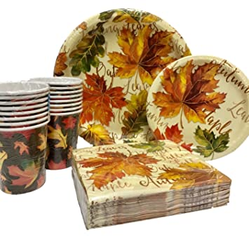 100 Piece Leaf Splendor Fall Holiday Party Supplies - Disposable Paper Plates Cups and Napkins  sc 1 st  Amazon.com : fall paper plates - pezcame.com