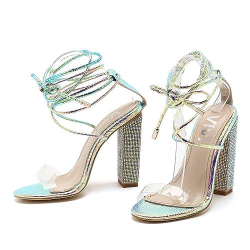 Vivi Vivi Vivi Damens's Pointy Toe Ankle Strap Rhinestone CoveROT Stiletto Heel 04c061