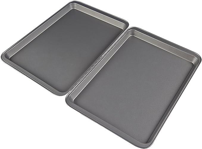 AmazonBasics - Medias bandejas de horno antiadherentes, de acero al carbono, juego de 2: Amazon.es: Hogar