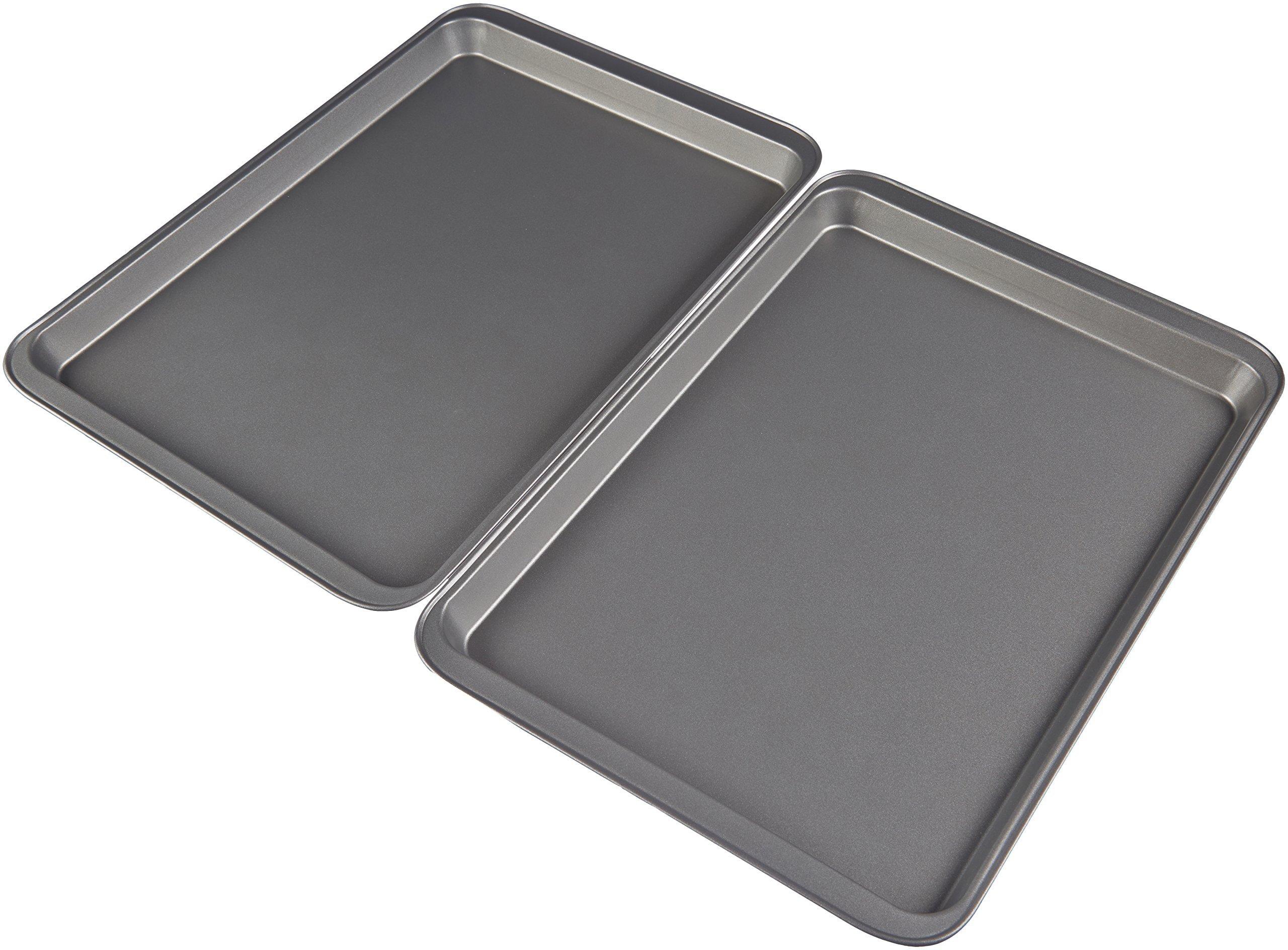 AmazonBasics Nonstick Carbon Steel Half Baking Sheet - 2-Pack by AmazonBasics