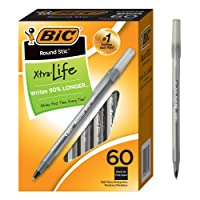 60-Pack BIC Round Stic Xtra Life Ballpoint Pen Medium 1.0 mm