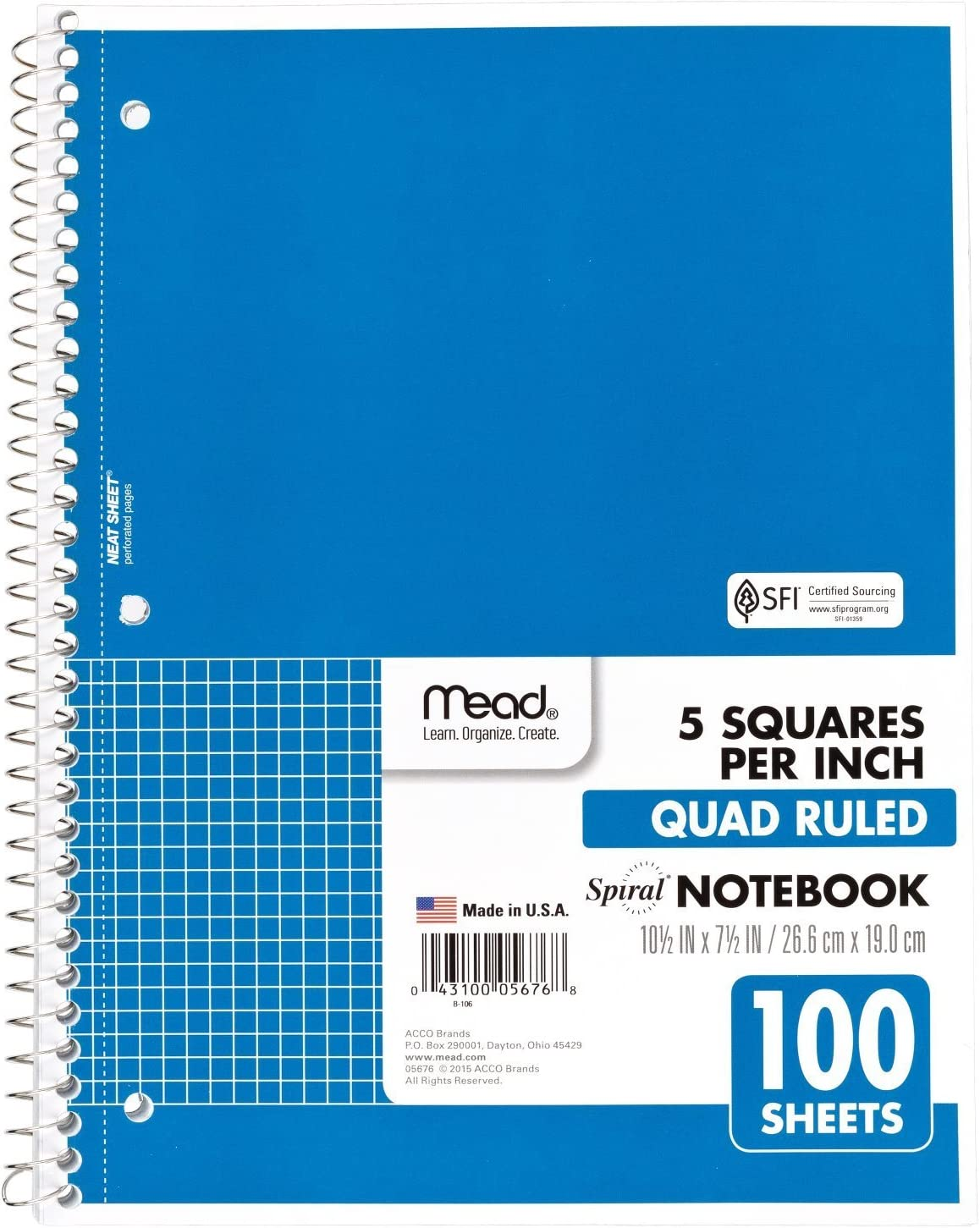 """Mead Spiral Notebook, 1 Subject, Quad Ruled, 100 Sheets, Grid Notebook with Engineering Graph Paper, Home Office & Home School Supplies for College Students & K-12, 10-1/2"""" x 8"""", Blue (05676AY7)"""