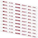 HAUTMEC 10' Hacksaw Blades Replacement Bi-Metal(10 Pack) 18 TPI High Speed Steel Grounded Teeth HT0119-CT