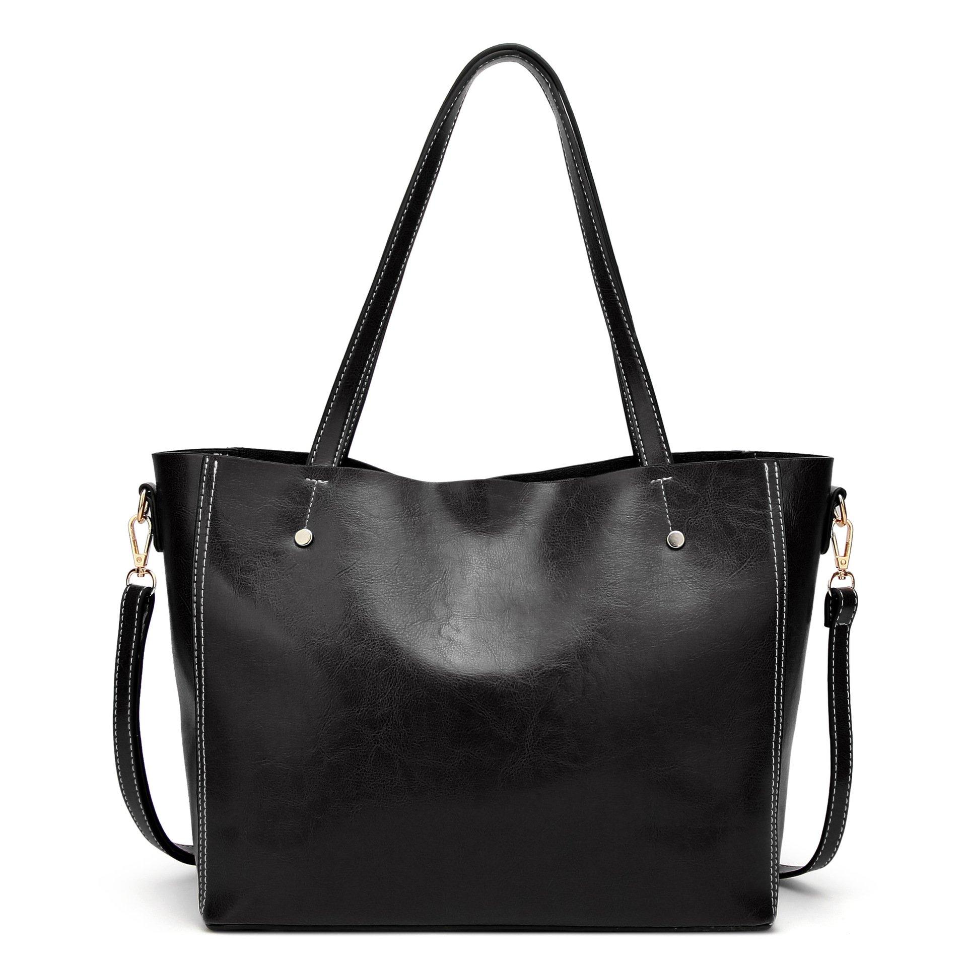 Women Leather Top Handle Satchel Handbags Shoulder Bag Messenger Tote Purse For Work Black