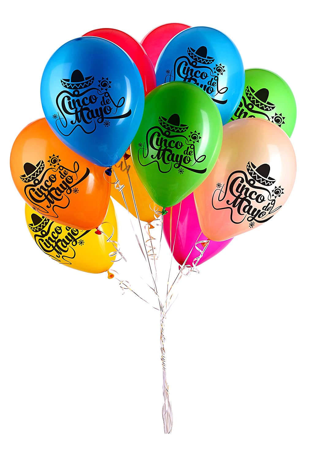 Kaba Flair Cinco De Mayo Balloons - 9 Radiant Colors (Red, Orange, Yellow, Green, Blue, Indigo, Violet, Black, White) - 40 Latex Balloons - with Fun Festive Print - Party with Family & Friends