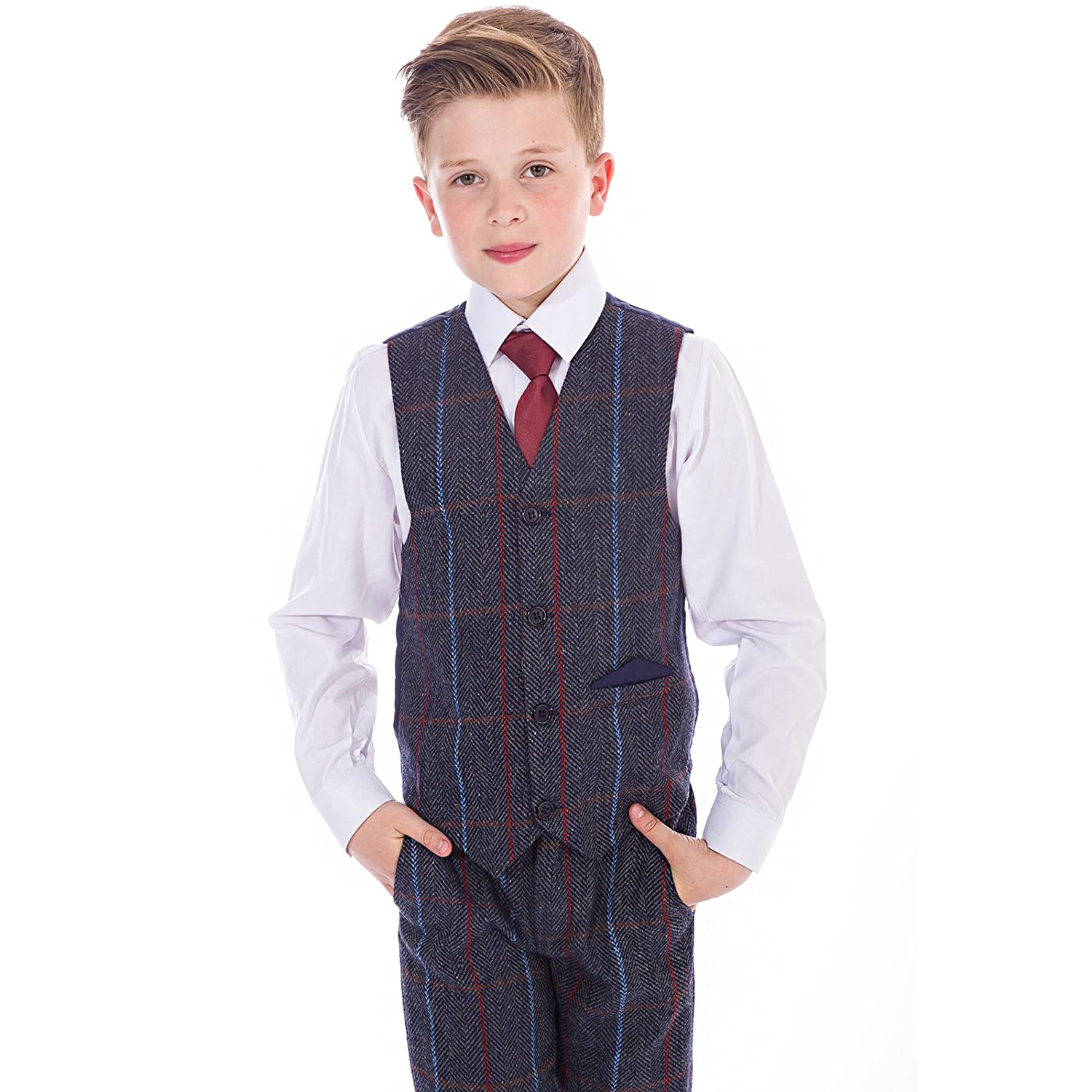 Vivaki Boys Navy Check Tweed Suit, 4 Piece Boys Wedding, Page Boy, Party Outfit, Boys Grey Suit, 0/3 Months to 12 Years