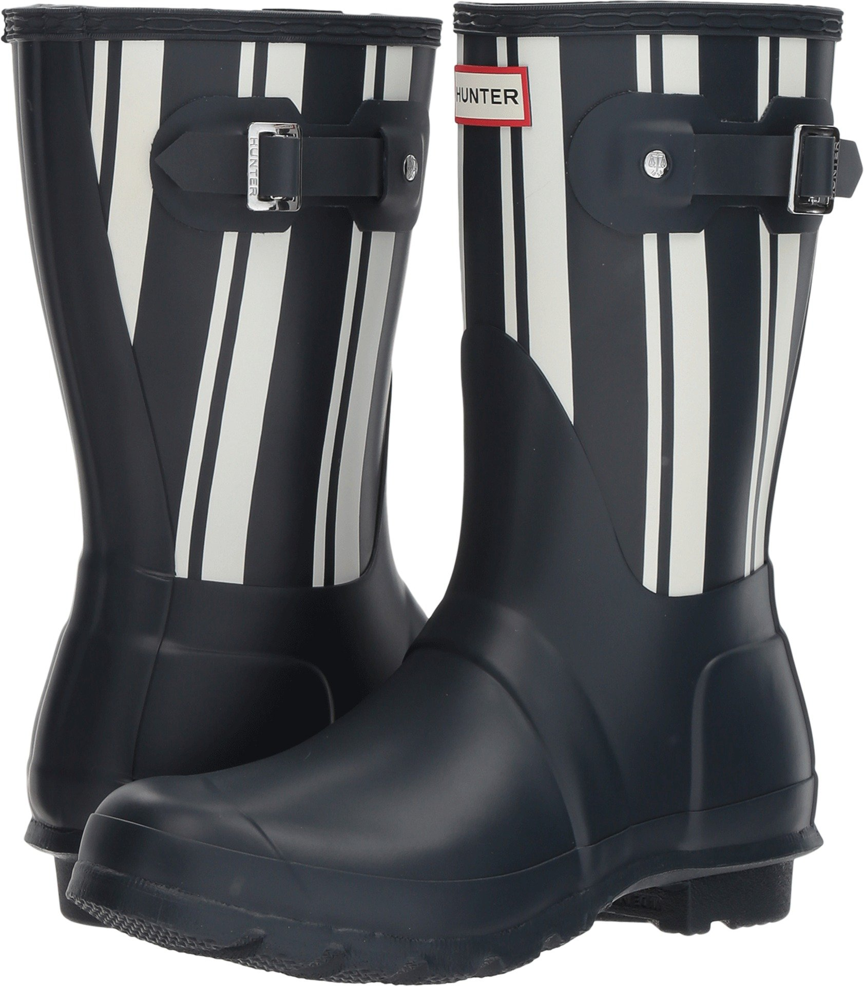 Hunter Women's Original Garden Stripe Short Rain Boots Navy/White 7 M US by Hunter