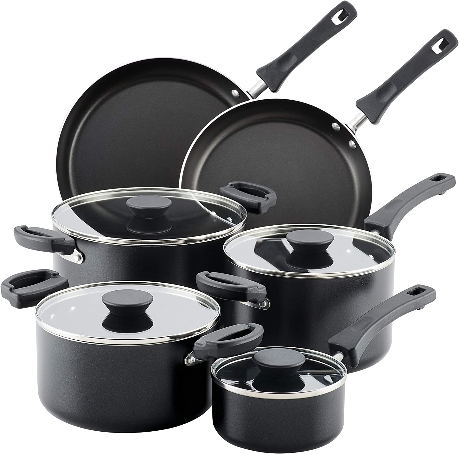 Farberware Neat Nest Space Saving Nonstick Cookware Pots and Pans Set/Dishwasher Safe, Made in The USA, 10 Piece, Black