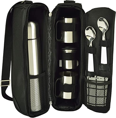 Picnic at Ascot Travel Coffee Tote for 2 Including Stainless Vacuum Flask, Cups, Creamer and Teaspoons- Designed Assembled in The USA