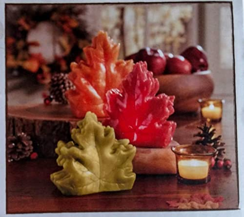3 Piece Harvest Leaf Wax Led Candle Set Battery Operated with Timer
