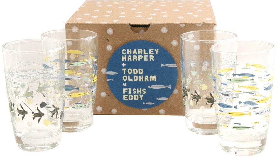 Oldham + Harper Underwater Glasses Set of 4 - Glassware