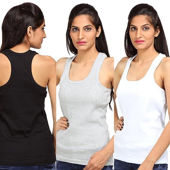 62ff600f5773c4 ALBATROZ Cotton T Back Ladies Plain Spaghetti Tank Top Vest Camisole Sando  for Women Combo of 3 Black