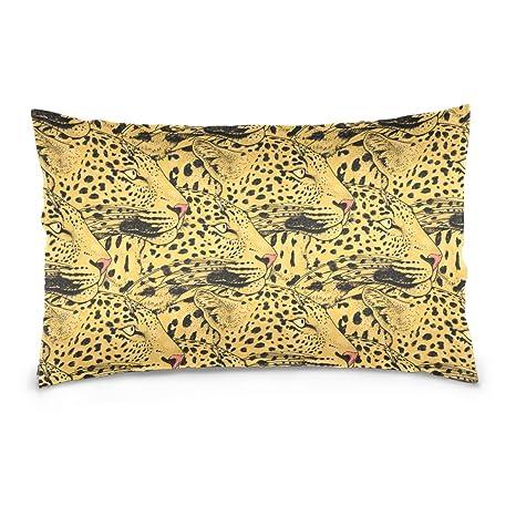 Doble cara leopardo cara perfecta patrón y Rectángulo Tamaño ...