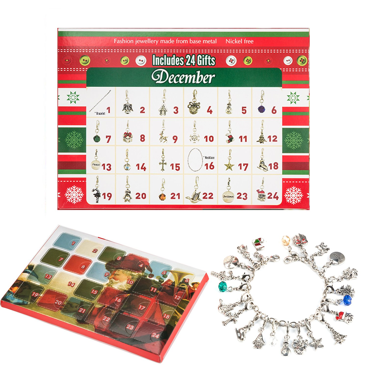 Zhuofu Christmas Advent Calendar Charm Bracelet Necklace DIY 22 Charms Set Fashion Jewelry Advent Calendars for Kids Christmas Toy