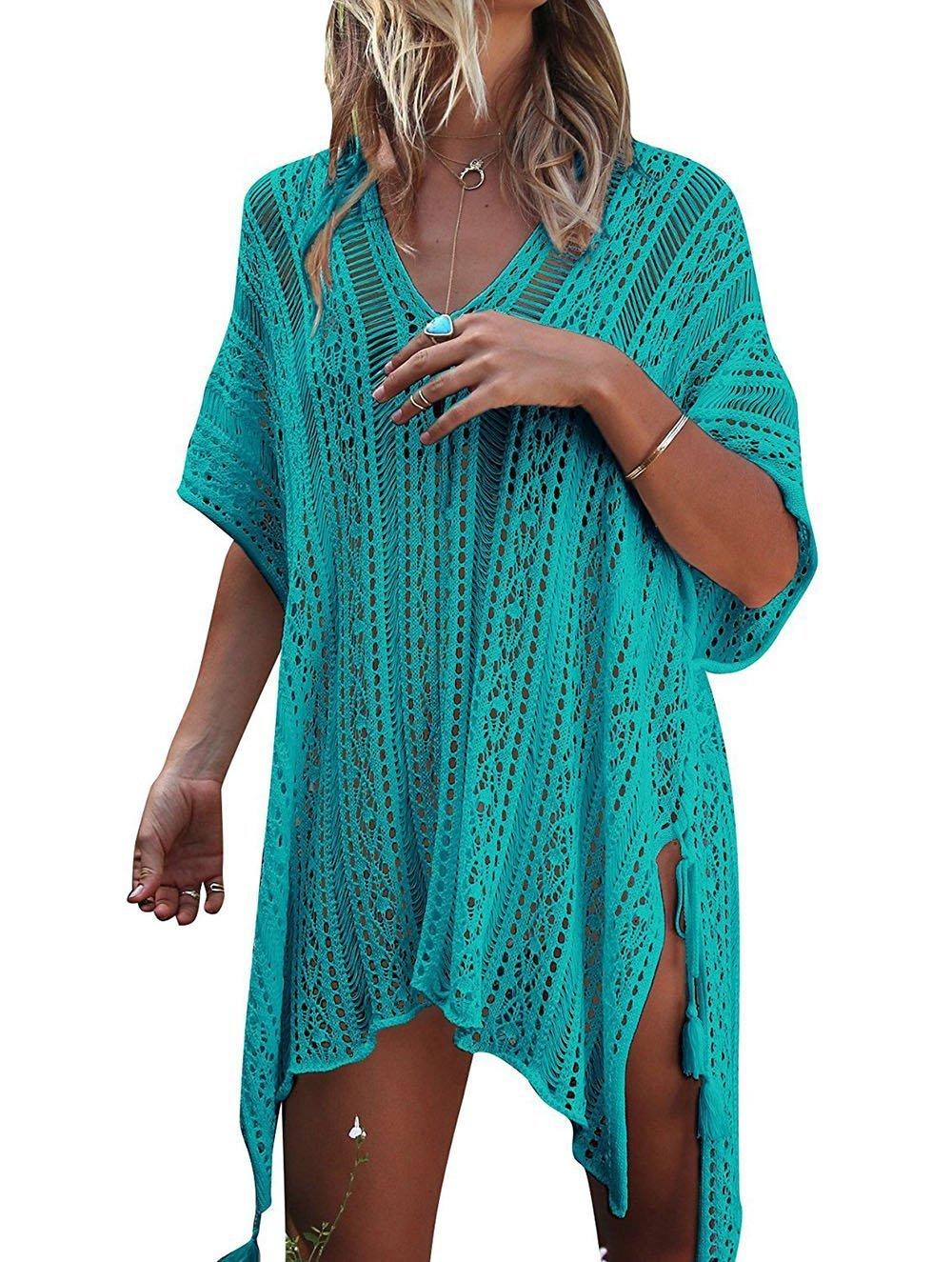 Garsumiss Women Beach Swimsuit Crochet Cover up Beach Bikini Dress Stylish Bathing Suit