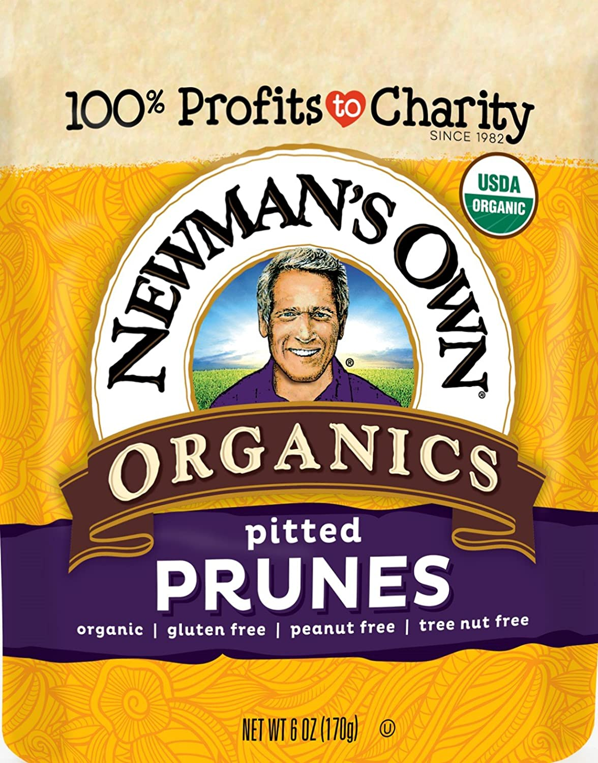 Newman's Own Organics California Pitted Prunes 6-Ounce Pouches (Pack of 12)