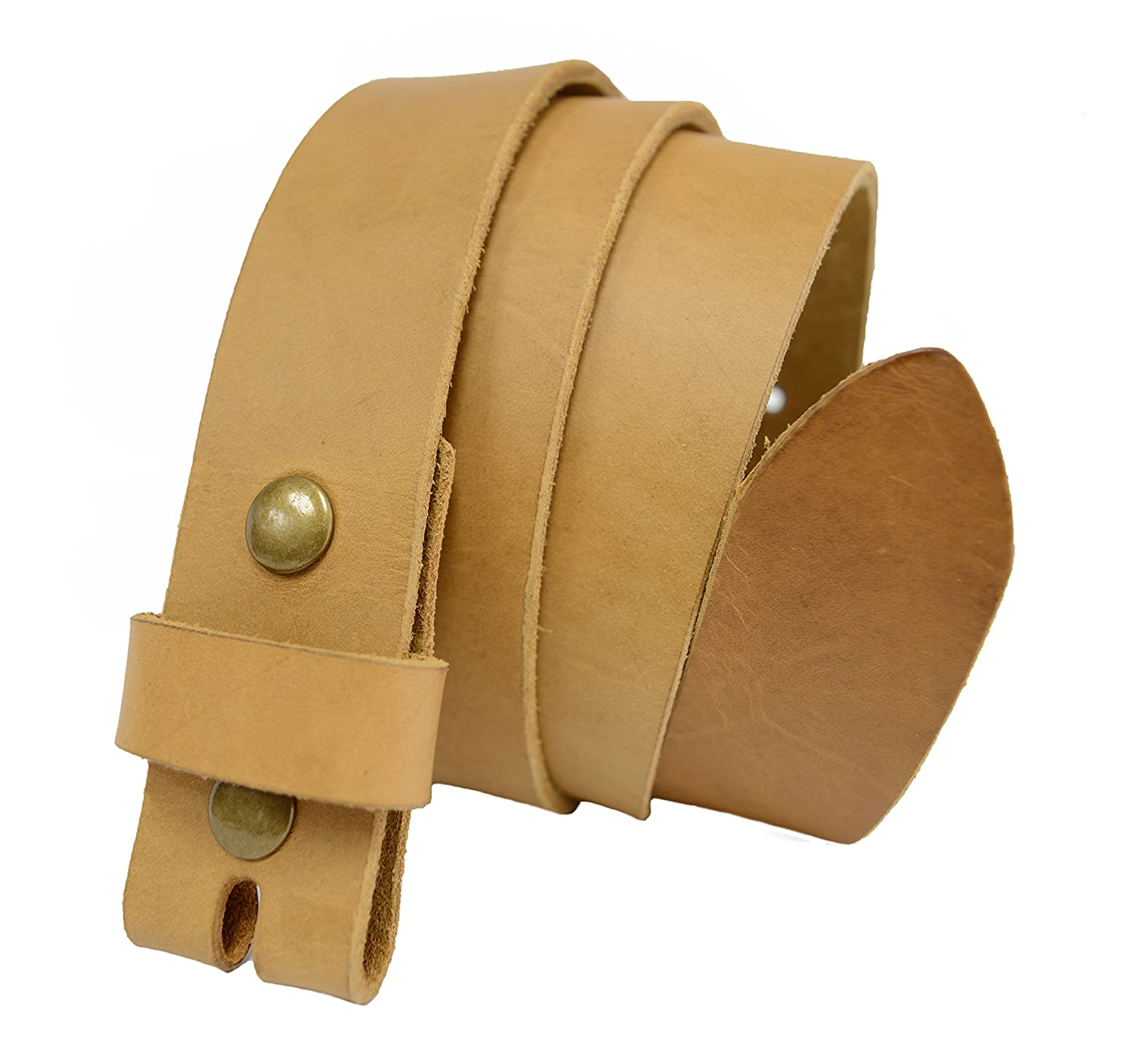 Tan LS -Toneka Steampunk Narrow Snap On Leather Replacement Belt Strap Width 1.33  (34mm)