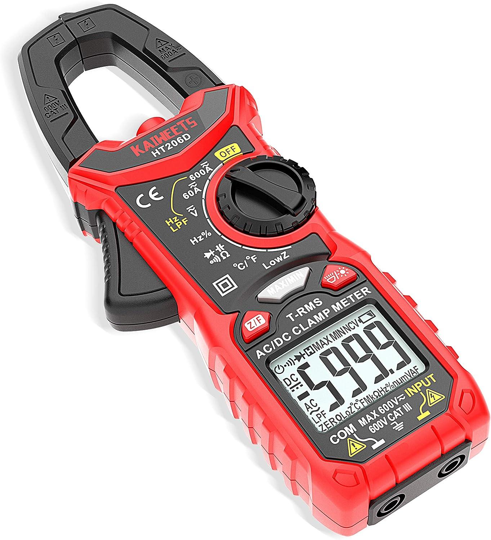 KAIWEETS Digital Pinza Amperimétrica Profesional para medir 600A CA/CC Corriente con 6000 Cuentas, Valor Real, Autorango, Pinza Amperímetro de Tensión, Capacitancia, NCV, Resistencia, Diodo, Bateria