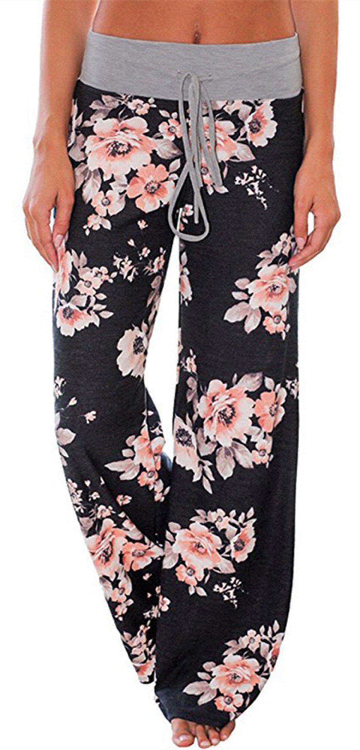 Sexymee Women's Comfy Pajamas Lounge Pants Floral Print Drawstring Wide Leg Palazzo Pants,Black 2,Medium