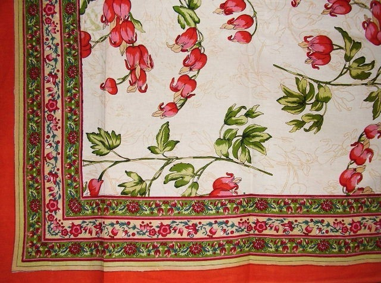 Floral Print Tapestry Cotton Spread 106'' x 72'' Twin Orange by India Arts (Image #1)