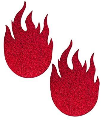 Flame: Glitter Red Flames Nipple Pasties by Pastease o/s