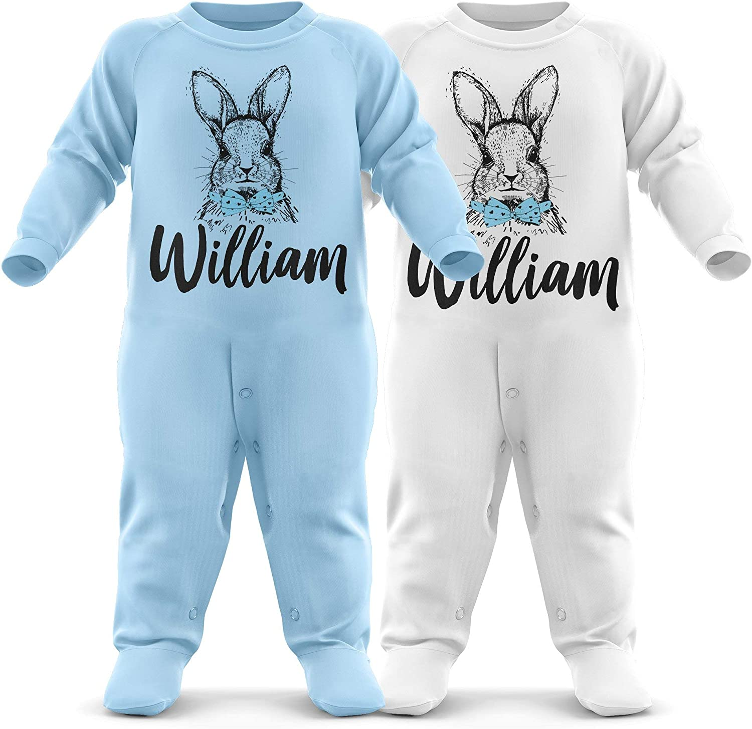 FunkyShirt Personalised Easter Romper Baby Boys Easter Babygrow Add Babies Custom Name First Easter Romersuit Gift
