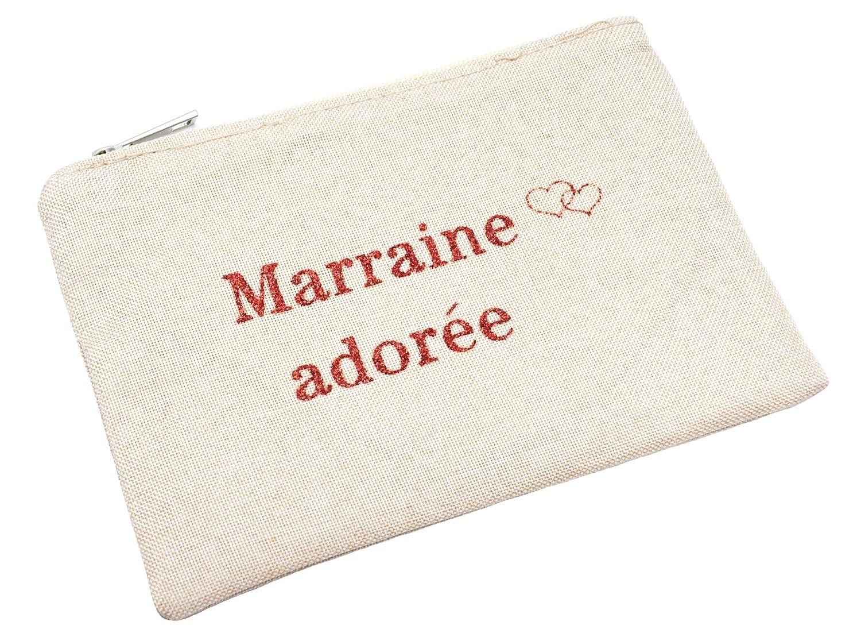 Oh My Shop ATM46 - Trousse Maquillage Pochette Tissu Beige Message Marraine Adorée Paillettes OMS-ATM46