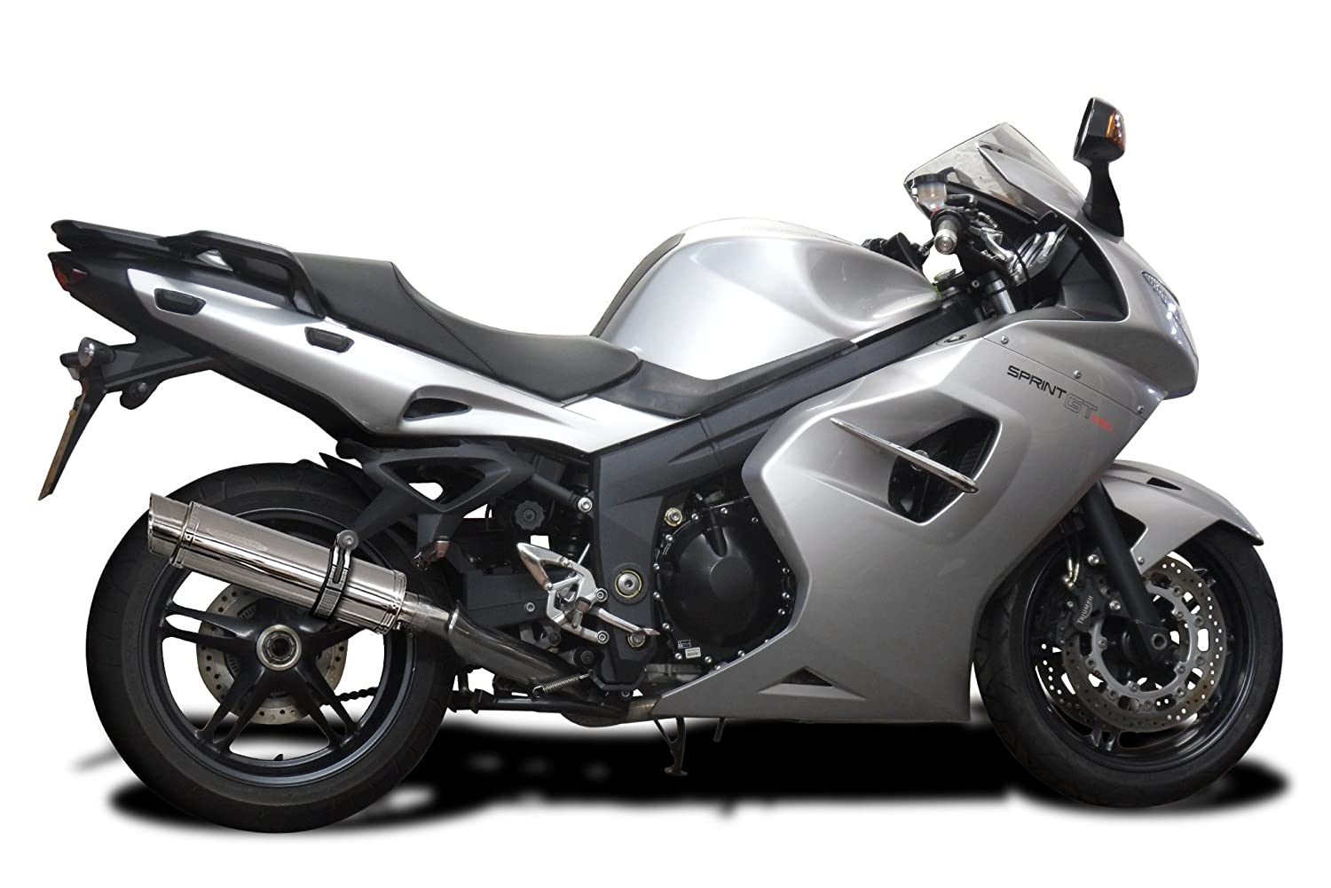 Delkevic Aftermarket Slip On compatible with Triumph Sprint GT SL10 14 Stainless Steel Round Muffler Exhaust 11-14