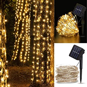 Fulighture Outdoor Solar String Lights, Waterproof Copper Wire 33feet 100 LEDs Solar Powered Fairy Light for Garden Patio Yard Trees Party Valentine Wedding Decoration, Warm White