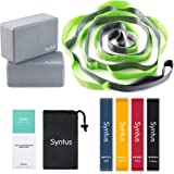Syntus 9-in-1 Yoga Set, 1 Yoga Strap with 12 Loops, 2 EVA Foam Soft Non-Slip Yoga Blocks 9×6×4 inches,4 Resistance Bands…