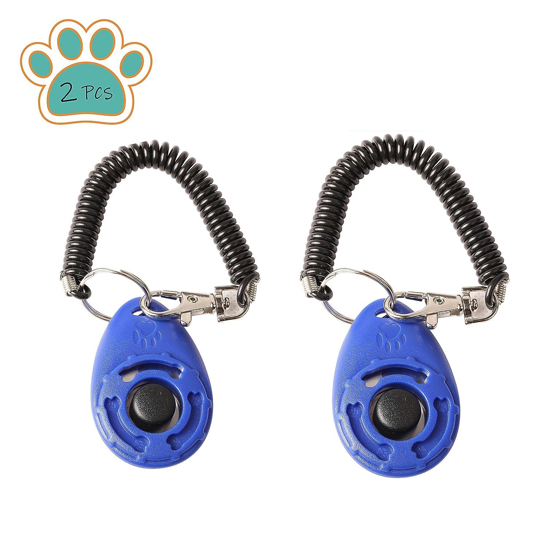 blue xuenisidan Dog Training Clickers,Big Button Training Clicker with Wrist Strap for Pet Dog Cat,2PCS