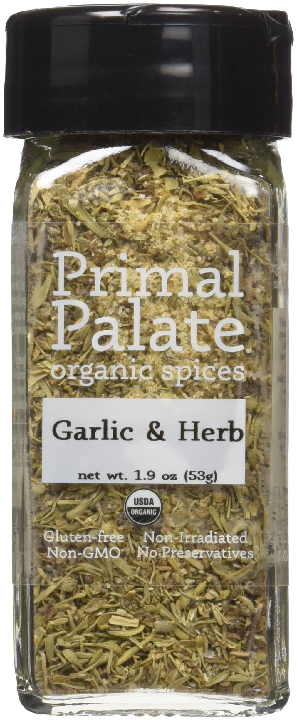 Primal Palate Organic Spices Garlic & Herb, Certified Organic, 1.9 oz Bottle