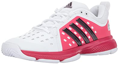 1c90df8e915ac2 adidas Women s Barricade Classic Bounce Tennis Shoes White Dark  Burgundy Energy Pink (6