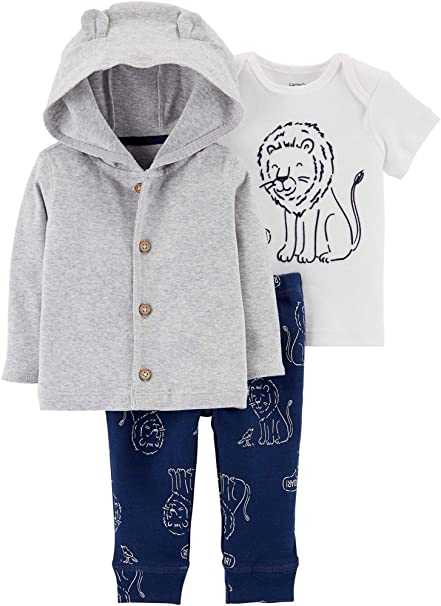 63d1c8d60 Amazon.com  Carter s Baby Boys 3-pc. Roar Cardigan Pants Set  Clothing