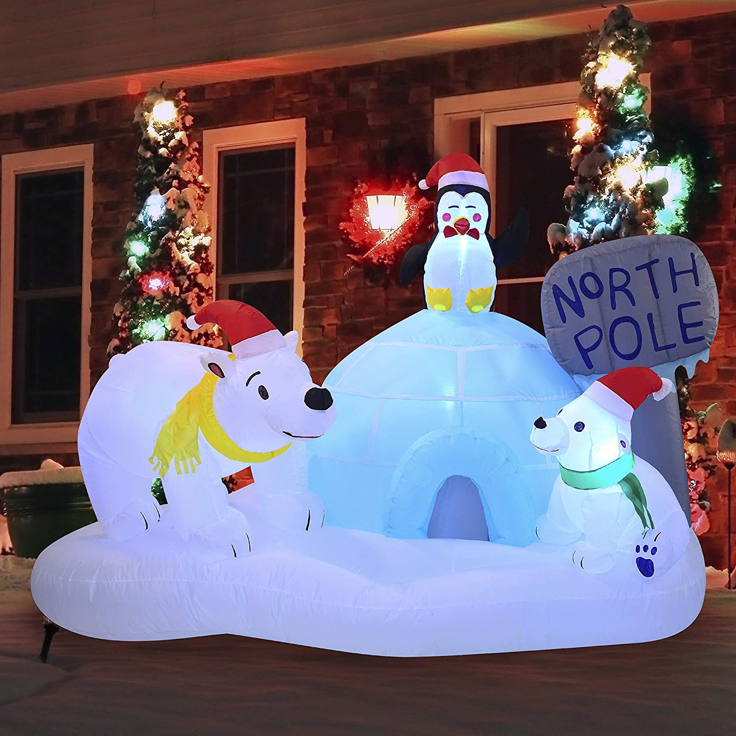 Joiedomi Christmas Inflatable Christmas North Pole Inflatable 6 ft with Build-in LEDs Blow Up Inflatables for Christmas Party Indoor, Outdoor, Yard, Garden, Lawn Décor, Holiday Season Decorations