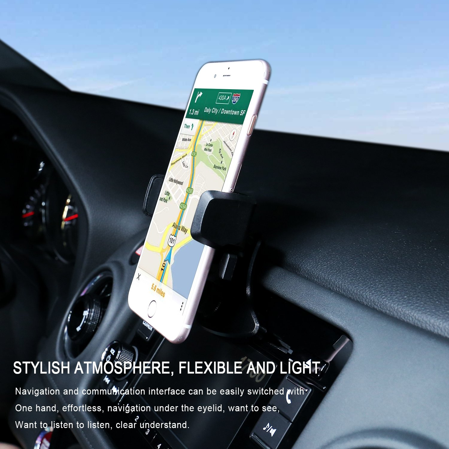 Galaxy S5//S6//S7//S8 Huawei and More 4327094130 Google  Nexus Veneibe Car Phone Holder,CD Slot Car Phone Mount Universal Car Cradle Mount with and One Touch Design for iPhone X//8//8P//7//7P//6s//6P//5S LG