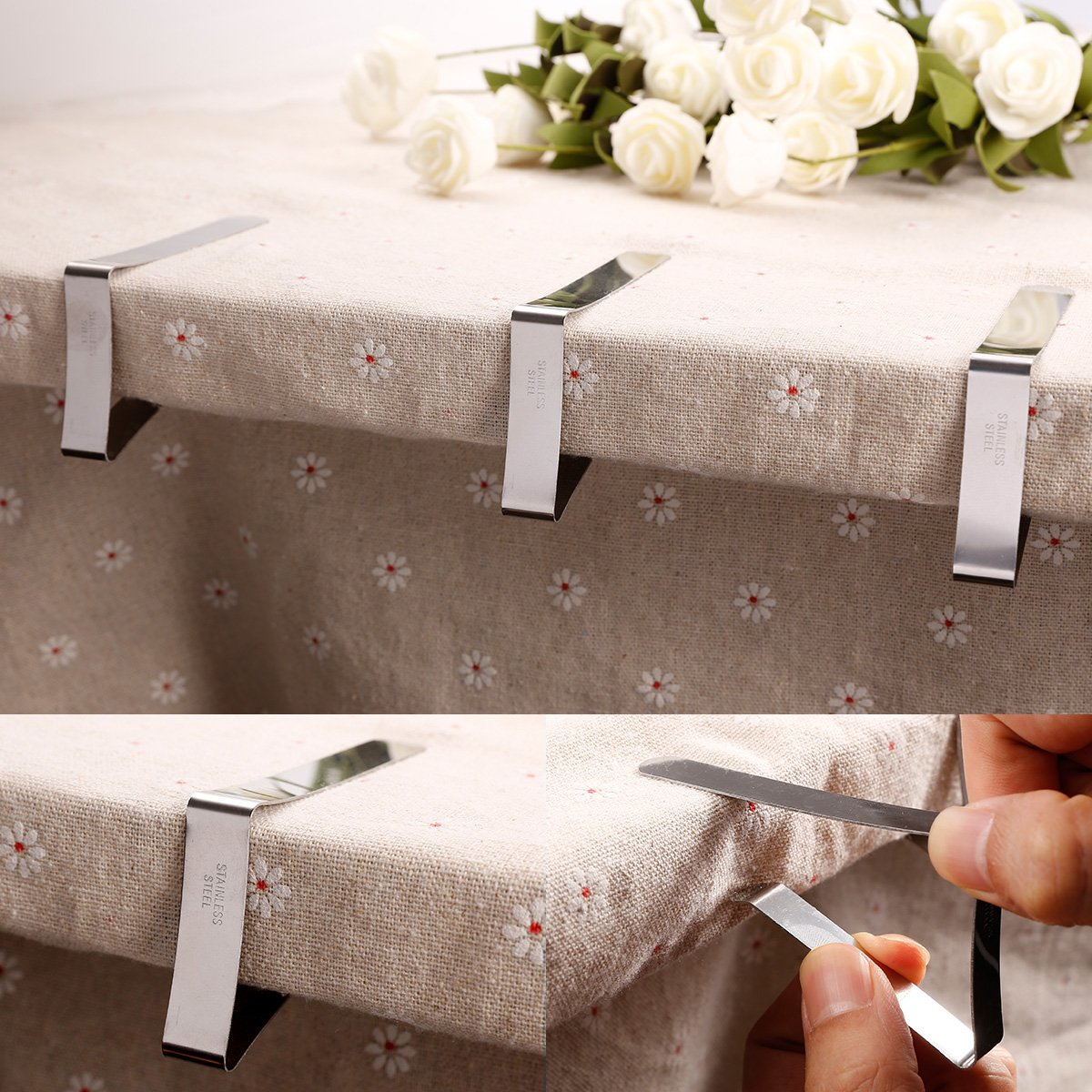 12PCS, Silver Anladia 12PCS 20PCS Tablecloth Clips Stainless Steel Table Cover Clamps Table Cloth Holders