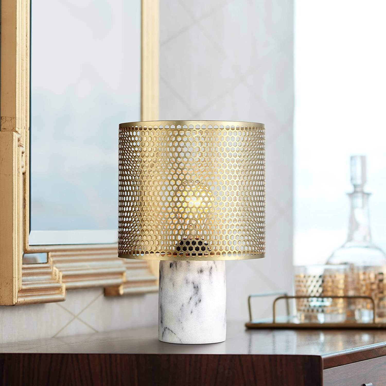 "Elijah Modern Accent Table Lamp 11 1/2"" High White Faux Marble Base Brass Hexagon Cutouts Shade for Bedroom Bedside Office - 360 Lighting"