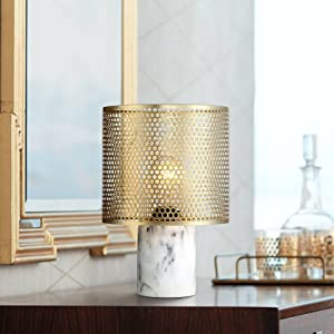 """Elijah Modern Accent Table Lamp 11 1/2"""" High White Faux Marble Base Brass Hexagon Cutouts Shade for Bedroom Bedside Office - 360 Lighting"""
