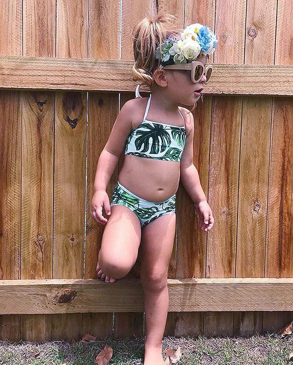 Toddler Kids Baby Girls Swimsuit Bikini Set Cuekondy Summer Fashion Leaves Print Tankini Swimwear Beach Bathing Suit