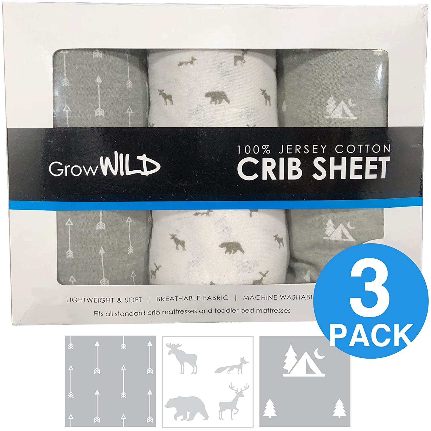 Standard Baby or Toddler Bed Mattress Premium Crib Sheets 3 Pack Grey Arrows Jersey Cotton Fitted Sheets for Boy or Girl Animals Trees GrowWILD