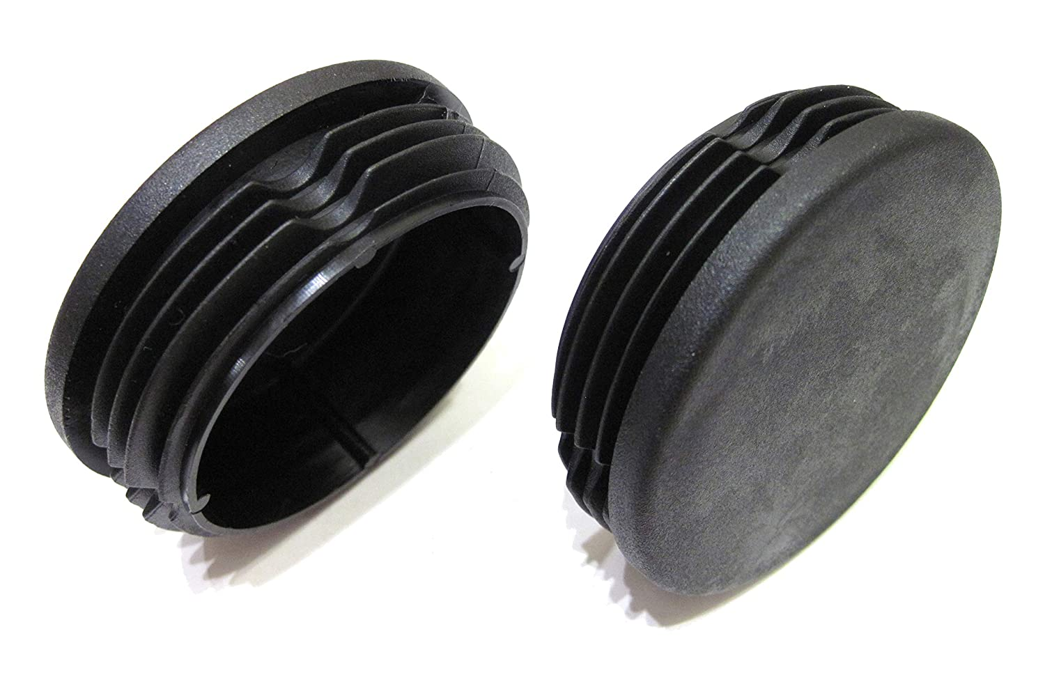 2pcs Pack: 2 3/8 Inch (Approx. 60mm) Round Black Plastic End Cap (for Hole Size from 2 1/8 to 2 9/32, Including 2 1/4 inches, 54mm - 58mm), Cover for Fence Post, Furniture Finishing Plug