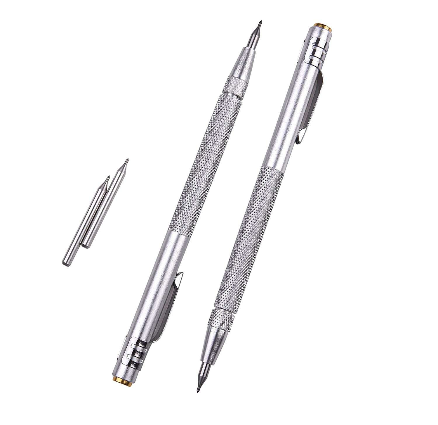 IMT Tungsten Carbide Tip Scriber 2 Pack, Aluminium Etching Engraving Pen with Clip and Magnet for Glass/Ceramics/Metal Sheet, Extra 2 Free Replacement Marking Tip