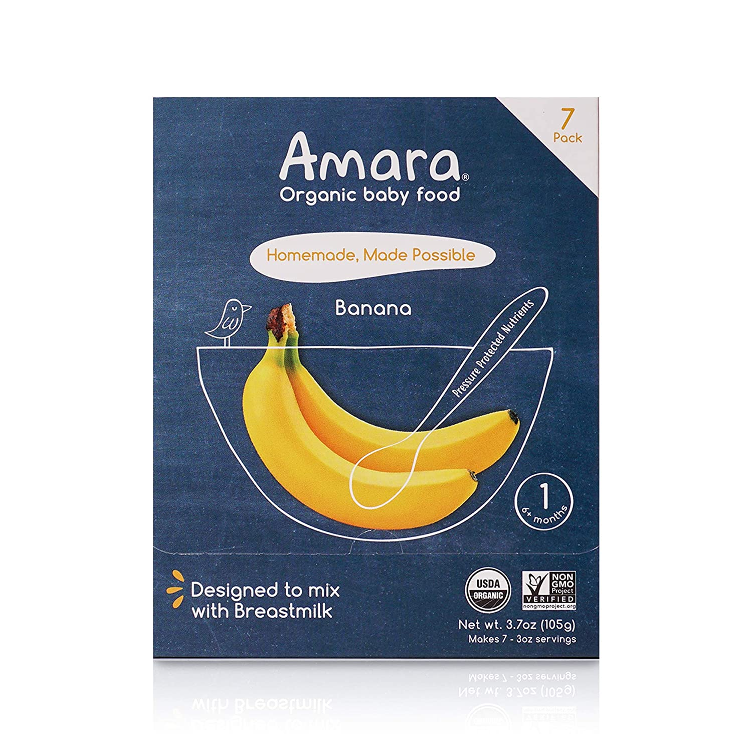 Amara Organic Baby Food   Banana   Homemade Made Possible   Mix with Breastmilk or Water   Certified Organic, Non-GMO, No Added Sugars  Stage 1   7 Pouches